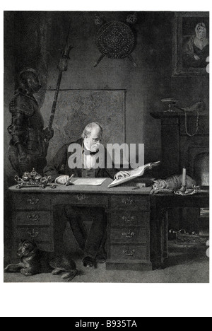 sir walter scott in his study working period dress coat of armour writing work traditional clothing Sir Walter Scott, - Stock Photo