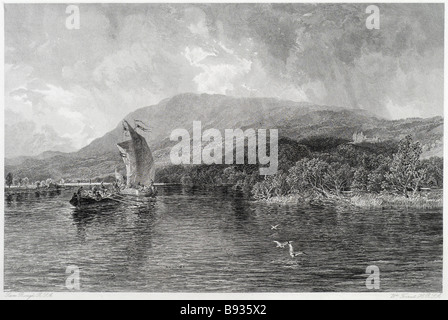 boat scene on loch tay lake water coast boat sail fishing wood tree forest mountain bird rowing river scotland The - Stock Photo
