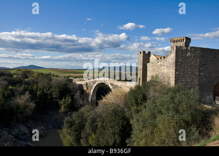 bridge and castle of Abbadia in Italy - Stock Photo