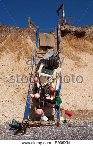 Fishing boat storage at Birling Gap, East Sussex, England, UK - Stock Photo