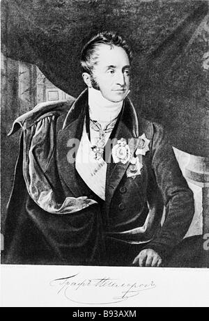 Count Karl Nesselrode 1780 1862 Russian statesman Chancellor Since 1845 and Foreign Minister 1816 1856 Engraving - Stock Photo