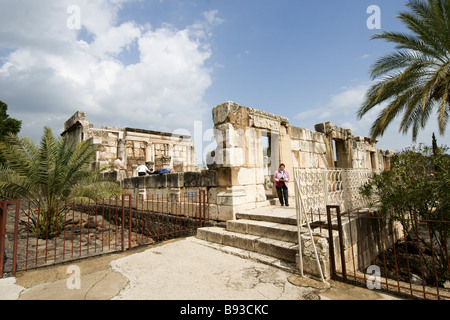 Israel Sea of Galilee Capernaum Ruins of the old synagogue uncovered on site forth Century CE - Stock Photo