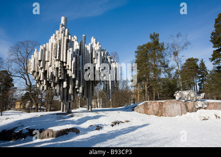 Sibelius monument in Helsinki Finland - Stock Photo