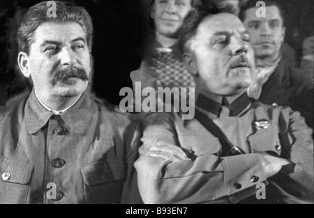 General Secretary of the CPSU CC Joseph Stalin left and the Red Army head the USSR Defense Commissar Kliment Voroshilov - Stock Photo