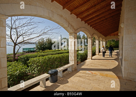 Israel Galilee Church of the Beatitudes on the northern coast of the Sea of Galilee in Israel - Stock Photo