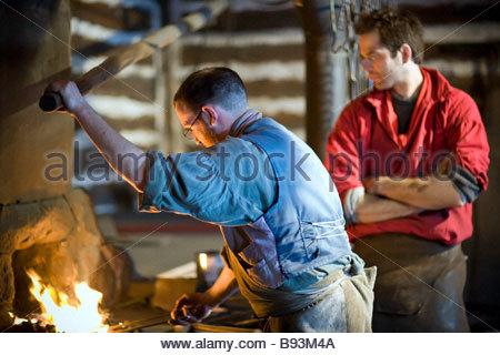 Traditional Blacksmith Shop, Festival du Voyageur, Winnipeg, Manitoba, Canada. - Stock Photo