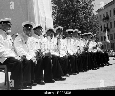Participants of the Battleship Potemkin uprising of June 1905 on the 60th anniversary of the uprising - Stock Photo