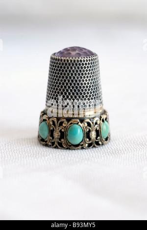 Anitque ornate thimble - Stock Photo