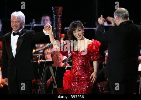 Famous Russian barytone Dmitry Khvorostovsky and South Korean opera singer Sumi Yo performing at the State Kremlin - Stock Photo