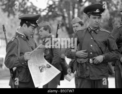 Cadets of the Moscow Mossovet Border Guards Command Higher School of the USSR KGB before the exercises - Stock Photo