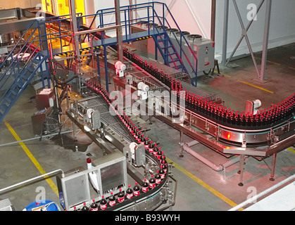 The 3rd line with capacity of more than 200 million liters a year is launched at the Coca Cola plant in St Petersburg - Stock Photo