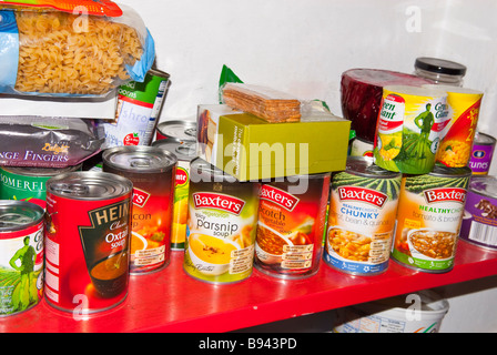 A cluttered untidy larder pantry housing lots of tins of food - Stock Photo