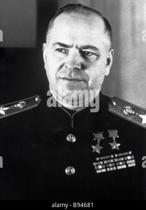 Four Times Hero of the Soviet Union and Marshal of the Soviet Union Georgy Zhukov 1896 1974 during the Great Patriotic - Stock Photo