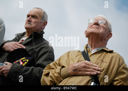 Two WWII  american veterans during a commemorative day in France - Stock Photo