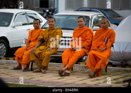 Monks outside the Tuol Sleng Museum Genocide Museum Phnom Penh Cambodia - Stock Photo