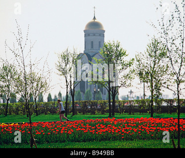 St George s Church in Victory Park on the Poklonnaya Hill Moscow - Stock Photo