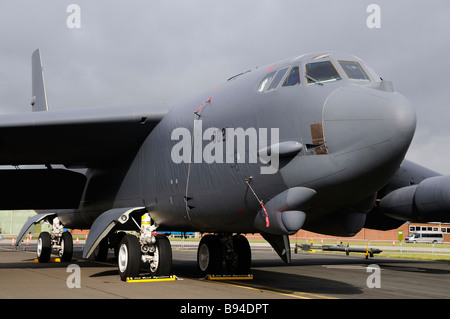 Closeup of the front of a Boeing B52 bomber aircraft on display at Waddington Airshow - Stock Photo