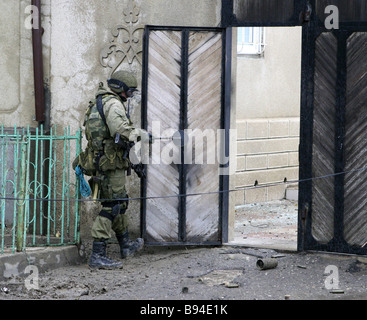 Eight insurgents were killed when special forces stormed a residential house in the center of Makhachkala the Dagestani - Stock Photo