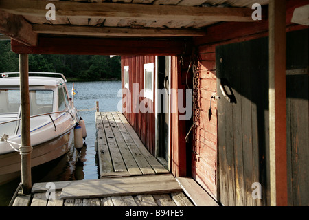 Boatsheds in Aland - Stock Photo