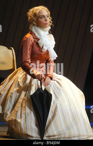 Nelli Uvarova as Natalie Beer in the showcase of Tom Stoppard s The Coast of Utopia to be premiered in Moscow s - Stock Photo