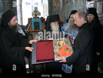 Russia s President Vladimir Putin visits St Panteleimon s Monastery of the Russian Orthodox Church on Holy Mount - Stock Photo