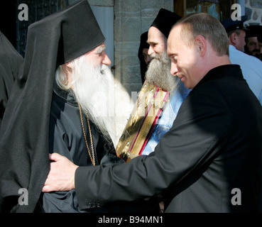President Vladimir Putin during a visit to the Russian Monastery of Martyr and Healer St Panteleimon on the Holy - Stock Photo