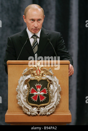 Russian President Vladimir Putin addresses the personnel on the new headquarters of the GRU Main Intelligence Administration - Stock Photo
