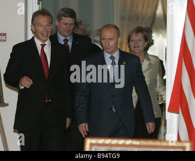 Russian President Vladimir Putin British Prime Minister Tony Blair foreground right to left German Federal Chancellor - Stock Photo