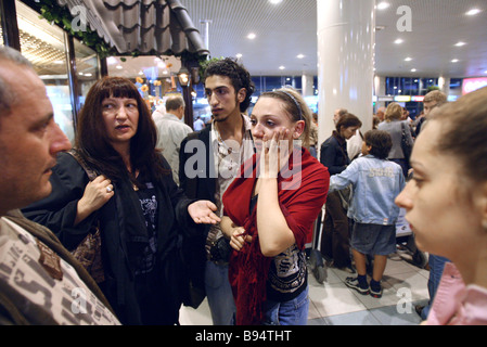 Russian and CIS nationals evacuated from Lebanon arrive in the Domodedovo airport - Stock Photo