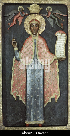 The 17th century wooden statue St Paraskeva the Museum of Fine Arts in Arkhangelsk - Stock Photo