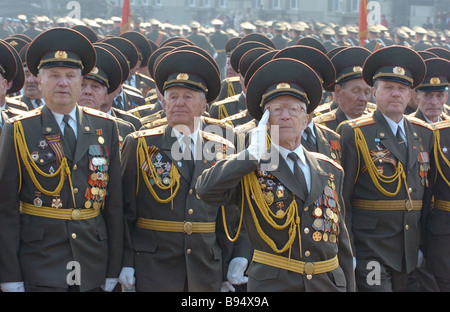 World War II veterans in V E anniversary parade in the central square of Yekaterinburg Urals - Stock Photo