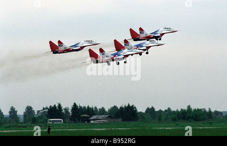 The Strizhi Swifts aerobatics team during the celebrations of the 85th birth anniversary of the glorious Russian - Stock Photo