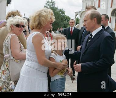 Russian President Vladimir Putin with visitors in the Kremlin June 26 2007 - Stock Photo