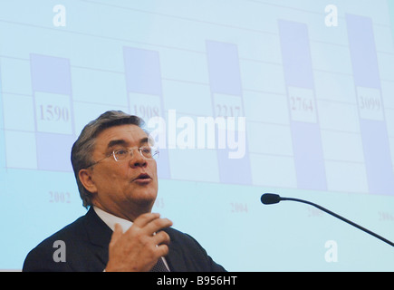Gennady Batanov Russian Pension Fund Board Chairman addresses hearings at the Federation Council parliament s upper - Stock Photo