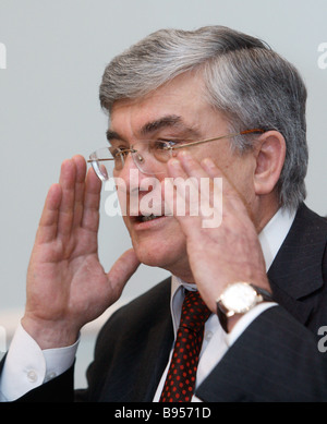 The Russian Pension Fund PFR Board Chairman Gennady Batanov at the news conference The Fund s First Work Results - Stock Photo