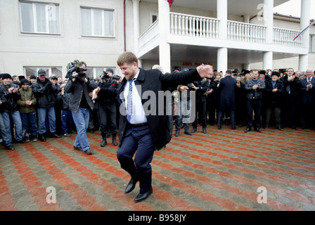 Chechen President Ramzan Kadyrov after voting at the polling station of Tsentoroi his clan s village during the - Stock Photo