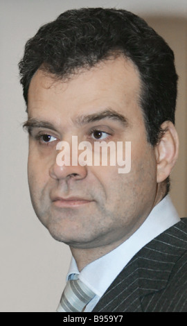 Deputy Minister for Regional Development Maksim Bystrov at a Cabinet meeting - Stock Photo