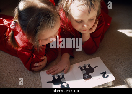 EDUCATION Children Reading Two toddlers lying on the floor in a sunlit room looking at a book with pictures of cats. - Stock Photo