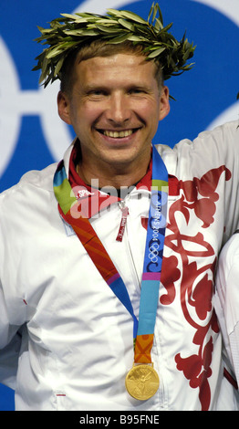 Mikhail Nestruev Russia won a gold medal at air pistol shooting competition at the XXVIII Summer Olympics - Stock Photo