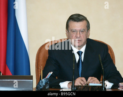 December 20 2007 Russian Prime Minister Viktor Zubkov at a Government meeting - Stock Photo