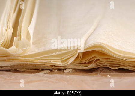 Ready made dough leaves fillo phyllo used for baklava banitsa - Stock Photo