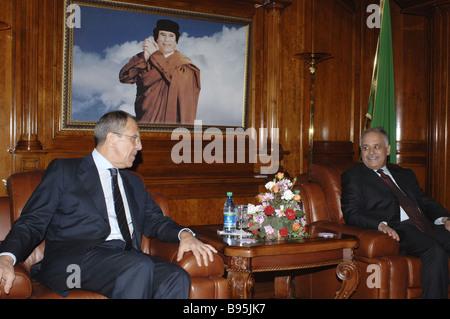 During a visit to Libya Russian Minister of Foreign Affairs Sergei Lavrov left met with its Prime Minister Baghdadi - Stock Photo