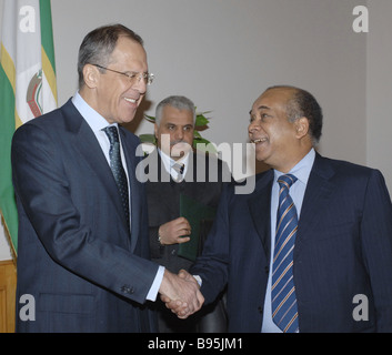 During a visit to Libya Russian Minister of Foreign Affairs Sergei Lavrov left met with his Libyan counterpart Abd - Stock Photo