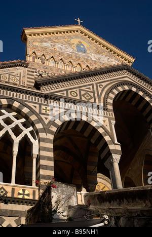 Italy, Campania, Salerno, Amalfi. Exterior facade of the Duomo di Sant Andrea. - Stock Photo