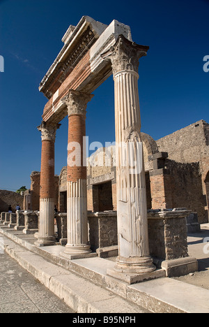 Italy, Campania, Napoli, Pompeii, The Forum. Portico in front of the Macellum. - Stock Photo