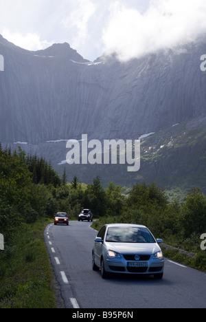 Road to Nusfjord, Flakstad, Flakstadøya island, Lofoten islands, Nordland, Norway, Scandinavia, Europe - Stock Photo