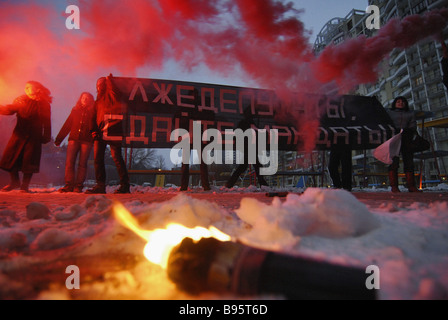 Thirty National Bolsheviks blocked the Deputy House in Olof Palme Street Moscow where State Duma members from other - Stock Photo