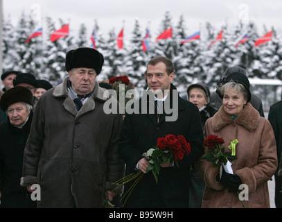 27 January 2008 Dmitry Medvedev First Deputy Chairman of the Russian government centre visiting Piskaryovskoye Memorial - Stock Photo