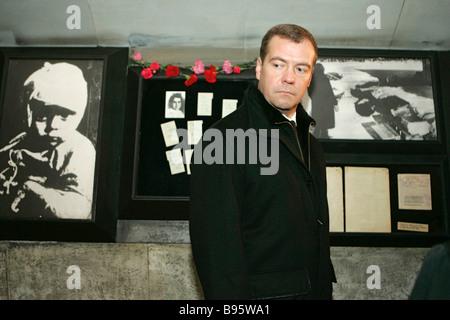 27 January 2008 Dmitry Medvedev First Deputy Chairman of the Russian government right visiting the Piskaryovskoye - Stock Photo