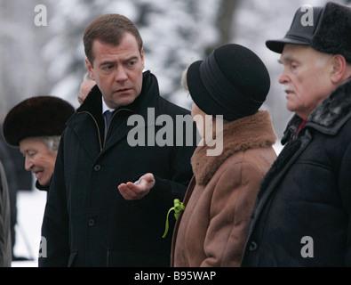 27 January 2008 Dmitry Medvedev First Deputy Chairman of the Russian government left visiting Piskaryovskoye Memorial - Stock Photo